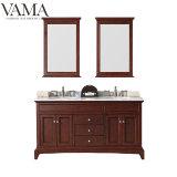Vama debout de plancher de 60 pouces American Style Double lavabo Grande salle de bains Vanity Cabinet 709060