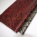 2019 prezzi materiali del tessuto del cuoio impressi modo della pelle di serpente per la fabbricazione i pattini/sacchetti