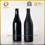 光沢があり、無光沢の黒い空500mlビール瓶(052)