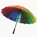 Ombrello diritto di golf del Rainbow delle nervature di pollice 16 dell'OEM 24 della fabbrica