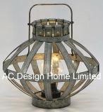 型の円形の電流を通された金属のランタンW/LEDの電球