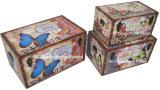 S/3 de Decoratieve Antieke Uitstekende Doos van de Boomstam van de Opslag van de Druk Pu Leather/MDF van het Ontwerp van de Auto Rechthoekige Houten