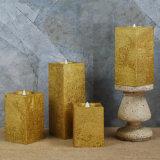 Свечка штендера золотистого цвета металлическая квадратная непламенная СИД с Remote