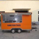 ステンレス鋼の車輪が付いているセリウムの食糧カートが付いているトルネードポテトの食糧トレーラーの食糧トラックはBBQの食糧カートを手で押す