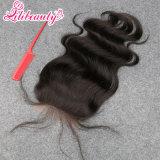 Peça de cabelo Lilibeauty 3parcialmente o encerramento da base de seda parte livre de pêlos Brasileira Lace Encerramento