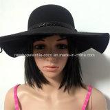 Moda Grande Brim Fake Wool Fedora ou Floppy Hat com fita