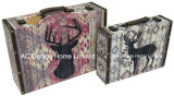 S/2 PU Leather/MDF 나무로 되는 저장 여행 가방 상자를 인쇄하는 장식적인 고대 포도 수확 사슴 디자인
