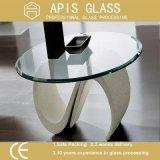 het 6mm Aangepaste Ovale Aangemaakte Glas van de Vorm Tafelbladen met Opgepoetste Randen