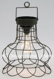 Decoración Vintage Linterna de metal redondo con LED Bombilla