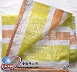 노란 주황색 백색 줄무늬 방수포