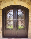 Eyebrown Top Security Wrougt Iron Double Doors with Rain Glass