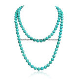 文の胸当ての円形の短いビードの二重繊維の長いネックレスの宝石類