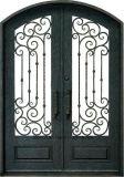 Portas de entrada de ferro de olho-forjadas feitas à mão com luzes laterais
