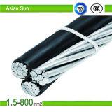 PVC en aluminium du faisceau 0.6/1kv, XLPE a isolé le câble aérien noir de paquet, câble d'ABC