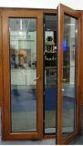 Le luxe du grain du bois recouvert de film couleur porte en verre à battants en PVC avec double vitrage en verre trempé (PCD-004)