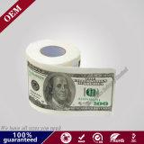 2ply百ドル&500ヨーロッパのプリントトイレットペーパーロール、カスタムプリントペーパー