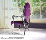 Louis-Armlehne, die Stuhl mit Cushionsed aufgefülltem Sitz und rückseitigem Edelstahl-Rahmen speist