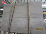 白い木の穀物または静脈の大理石、Serpeggianteの白いタイルまたは平板またはカバーまたはまわりを回るか、またはパターン大理石