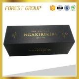 Contenitore nero di vino del regalo della scatola con il bollo dell'oro per imballaggio
