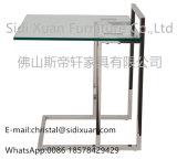 ソファーの寝室の家具のための上部の端表のステンレス鋼の磨かれた明確な緩和されたガラス