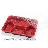 Caixa de almoço plástica descartável preto e vermelho PP com tampa