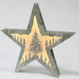 Indicatore luminoso allegro glassato di legno a pile della casella di finestra dell'albero di Natale