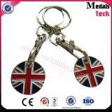 Custom Brand Company Logo Metal Moeda Porta chaves