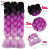 24のインチの組みひもの毛の拡張ジャンボかぎ針編みは総合的なヘアースタイル100g/PCの純粋なブロンドのピンクの緑を編む