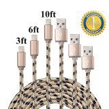 8개의 핀 나일론 땋는 USB 번개는 데이터와 비용을 부과 케이블을 덮었다