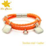 Cor laranja com pulseiras de couro personalizadas em aço inoxidável