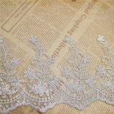 工場衣服のアクセサリ(BS1116)のための標準的な卸売18.5cmの幅の刺繍の金の糸ポリエステルネットのレースポリエステル刺繍のトリミングの空想の網のレース