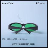 635nm, 905nm, 980nm de Beschermende brillen van de Bescherming van de Ogen voor de Lasers van het Rood en van de Diode (OTO-4 630660nm & 800830nm & 9001100nm) met Grijs Frame 55