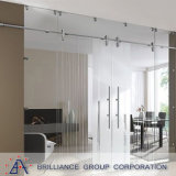 Porte coulissante suspendue en verre simple
