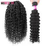 卸し売り加工されていないインドの深い波の毛100%の人間の毛髪の工場
