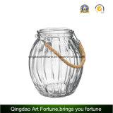 ホーム庭の装飾のためのジュートのハンドルの水星のガラス瓶かつぼ