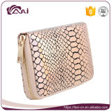 Bolsa cor-de-rosa de prata da carteira da pele dos peixes da cor, carteira do fecho de correr para mulheres
