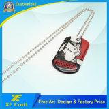 CusomのシルクスクリーンのCmykの専門の汚れの記念品(XF-DT07)のための球の鎖が付いている鋼鉄金属の札または犬Tag/ID札またはペット札