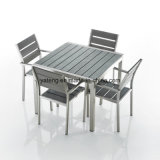 Da mobília de vime branca do jardim do PE da fábrica de Foshan tabela de jantar quadrada
