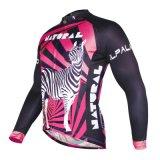 Розовый Zebra Stipes мужчин дышащий длинной втулки на велосипеде Джерси