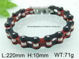 Chaud-Vendant le bracelet à chaînes de bicyclette à une seule couche Rouge-Noire d'acier inoxydable (BL2816)