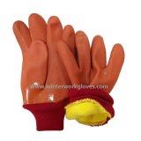 冷たい抵抗力があるPVC冬の手袋によって絶縁される安全作業手袋