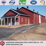 おおいが付いている専門のプレハブの鋼鉄構築の建物の倉庫