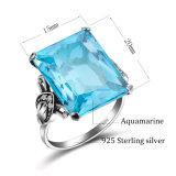 Kundenspezifischer Aquamarine 925 Sterlingsilber-Ringe für Frauen