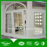 Forma de media luna con el diseño de ventana corrediza Parrilla de UPVC Puerta y ventana