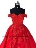 Luxury Strapless Hand-Applique Lace vestido de esferas vestido de noite vestido de casamento