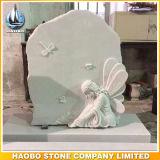 백색 대리석 천사 디자인 묘석 유아 기념탑