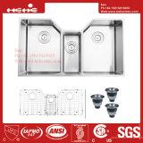 ステンレス鋼のハンドメイドの下の台紙の三倍ボールの台所の流し、ハンドメイドの流し、台所洗面器、ステンレス鋼の台所タンク