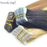 """40PCS 100g 18 """" /24番の"""" 100%上品なRemyのインドの人間の毛髪の皮のWeft毛の拡張両面テープ青いはさみ金の継ぎ目が無い見えない"""