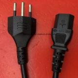 1.8m schwarze Sev Zustimmungs-Schweizer Netzanschlusskabel mit Iec C13