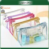 Claro transparente de PVC resistente al agua de la moda de la bolsa de cosméticos de viajes